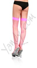 Fence Net Thigh Highs - Neon Pink