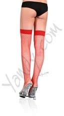 Lycra Industrial Fishnet Thigh Highs - Red
