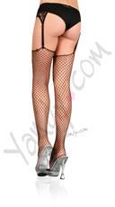 Plus Size Lycra Industral Net Stockings - Black