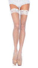 Stay Up Lycar Fishnet W/ Lace Top Thigh Hi - White