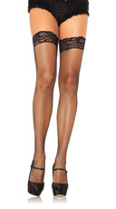 Stay Up Lycar Fishnet W/ Lace Top Thigh Hi - Black