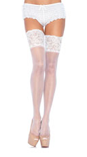 Lycra and Lace Thigh High Stockings - White
