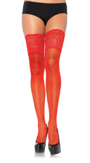 Lycra and Lace Thigh High Stockings - Red