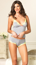 Lace Cami and Boy Short Set - Grey/Yellow
