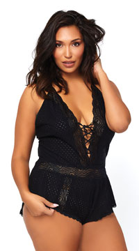 Plus Size Black Lace-Up Eyelet Romper - Black