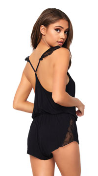 Black Brushed Jersey and Lace Romper - Black
