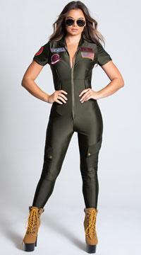 Sexy Top Gun Flight Suit Costume - Khaki