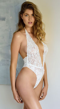Glow In The Dark Lace Teddy - White