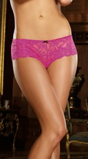 Lace Open Crotch Short - Fuchsia
