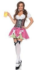 Swiss Girl Costume - Brown/Pink