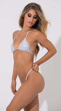 Basic Sequin G-String - White/Silver