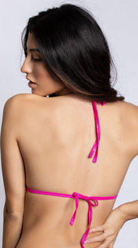Basic Twinkling Triangle Top - Hot Pink