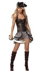Deluxe Steampunk Pirate Costume - Black/White