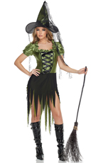 Seductress Emerald Witch Costume - Black/Green