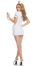 Flirty Night Nurse Costume - White/Red