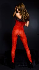 Red Cheetah Bodystocking - Red/Black