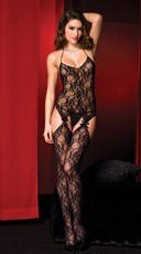 Fancy Lace Bodystocking - Black