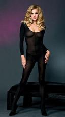 Long Sleeve Opaque Bodystocking - Black