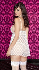 Mesh Polka Dot Babydoll Set - White