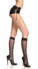Sheer Nylon Knee Highs - Black
