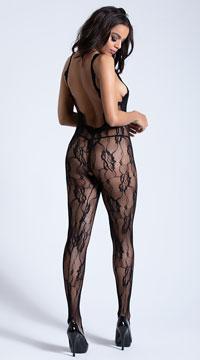 Lacy Black Bodystocking - Black