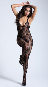 Lacy Black Bodystocking - Black