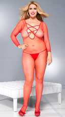 Plus Size Cross Front Bodystocking - Red