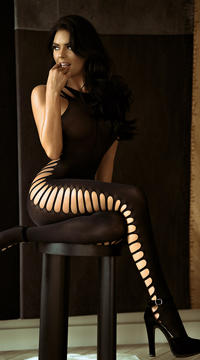 Ribbed Cut-Out Bodystocking - as shown