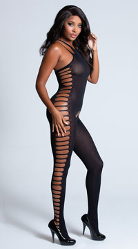 Ribbed Cut-Out Bodystocking - Black