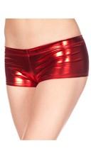Metallic Cheeky Boy Shorts - Red
