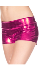 Banded Metallic Shorts - Fuchsia