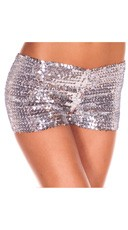 Sequin Booty Shorts - Silver