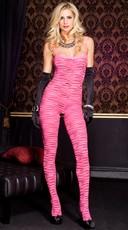 Animal Print Bodystocking - Pink/Black