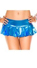 Metallic Pleated Mini Skirt - Blue