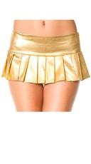 Metallic Pleated Mini Skirt - Gold