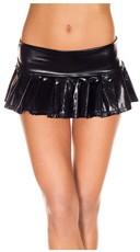 Metallic Pleated Mini Skirt - Black