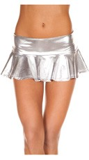 Metallic Pleated Mini Skirt - Silver