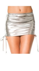 Metallic Adjustable Side Mini Skirt - Silver