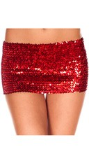 Sequined Mini Skirt - Red