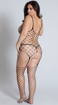 Plus Size Diamond Net Bodystocking - Black