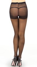 Sheer Control Top Pantyhose - Black