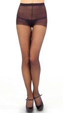 Sheer Control Top Pantyhose - Off Black