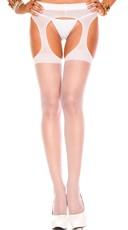 Sheer Suspender Pantyhose - White