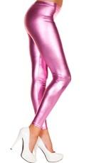 Shiny Footless Pantyhose Legging - Pink