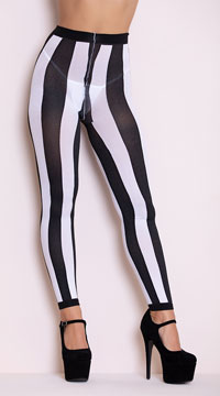 Opaque Striped Leggings - Black/White
