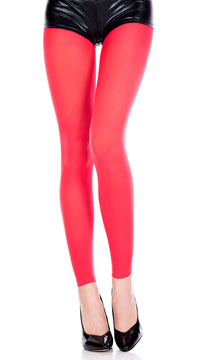 Babe Alert Footless Tights - Red