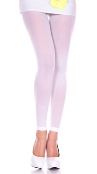 Babe Alert Footless Tights - White