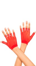 Wrist Length Fishnet Gloves - Red