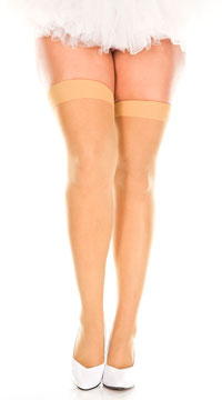 Plus Size Sheer Thigh High - Suntan
