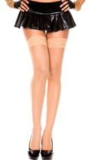 Sheer Thigh High with Lace Trim - Beige